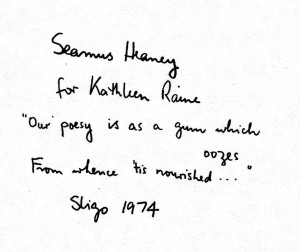 Inscription to poet Kathleen Raine in her copy of Death of a Naturalist