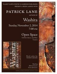 Book Launch Poster for Patrick Lane's Book Washita