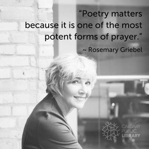 Calgary poet Rosemary Griebel