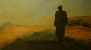 Man in a Long Black Coat: acrylic on board, by Boss, 2013